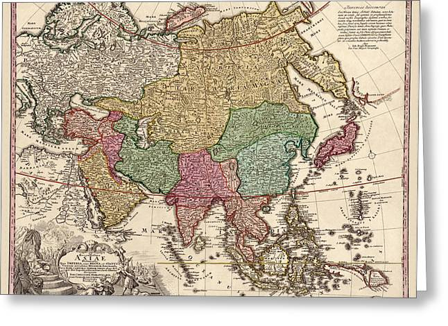 Asia Drawings Greeting Cards - Antique Map of Asia by Johann Christoph Homann - circa 1743 Greeting Card by Blue Monocle