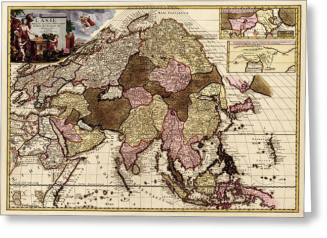 Asia Drawings Greeting Cards - Antique Map of Asia by Pieter van der Aa - circa 1680 Greeting Card by Blue Monocle