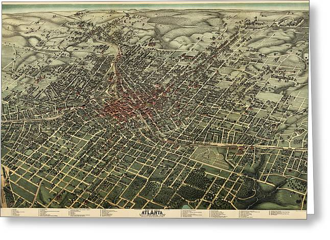Augustus Greeting Cards - Antique Map of Atlanta Georgia by Augustus Koch - 1892 Greeting Card by Blue Monocle
