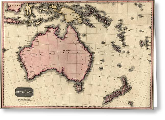 Pacific Islands Greeting Cards - Antique Map of Australia and the Pacific Islands by John Pinkerton - 1818 Greeting Card by Blue Monocle