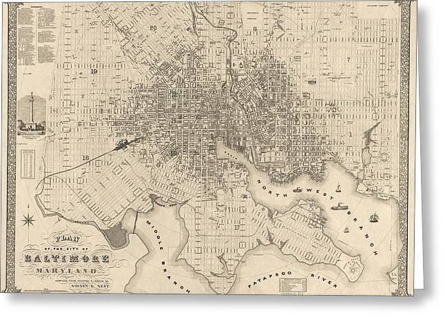 Maryland Greeting Cards - Antique Map of Baltimore Maryland by Sidney and Neff - 1851 Greeting Card by Blue Monocle