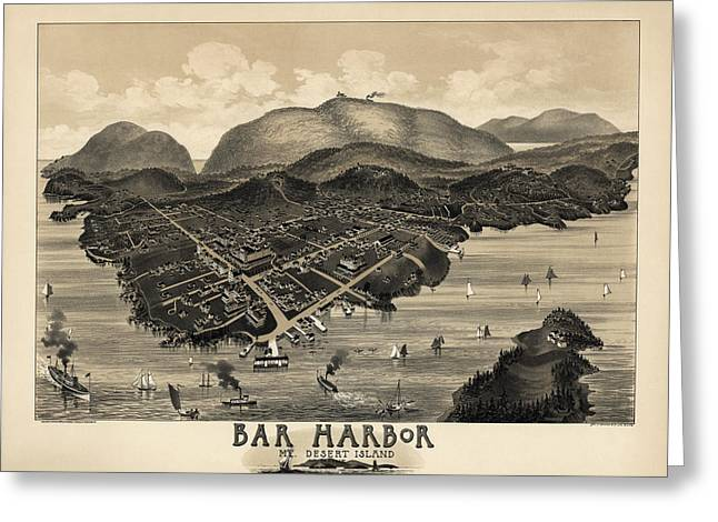 Desert Drawings Greeting Cards - Antique Map of Bar Harbor Maine by G. W. Morris - 1886 Greeting Card by Blue Monocle
