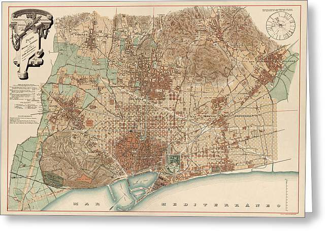 Barcelona Drawings Greeting Cards - Antique Map of Barcelona Spain by D. J. M. Serra - 1891 Greeting Card by Blue Monocle