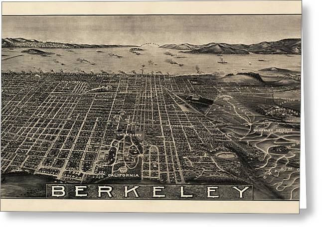 Antique Map of Berkeley California by Charles Green - circa 1909 Greeting Card by Blue Monocle