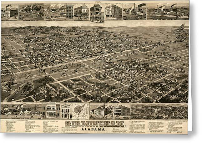 Alabama Drawings Greeting Cards - Antique Map of Birmingham Alabama by H. Wellge - circa 1885 Greeting Card by Blue Monocle
