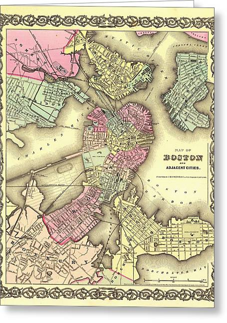 Illustrative Greeting Cards - Antique Map of Boston 1855 Greeting Card by Mountain Dreams