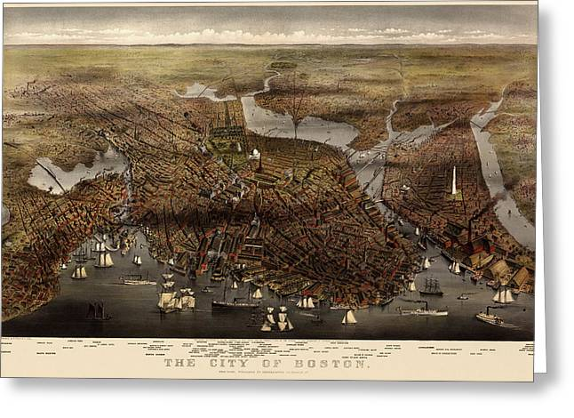 View Drawings Greeting Cards - Antique Map of Boston by Currier and Ives - 1873 Greeting Card by Blue Monocle