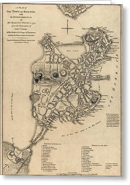 Revolutionary War Drawings Greeting Cards - Antique Map of Boston by William Faden - 1777 Greeting Card by Blue Monocle