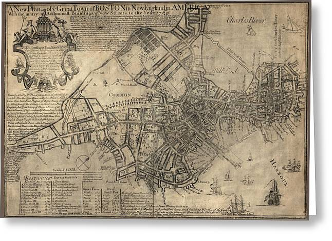 America Drawings Greeting Cards - Antique Map of Boston by William Price - 1769 Greeting Card by Blue Monocle