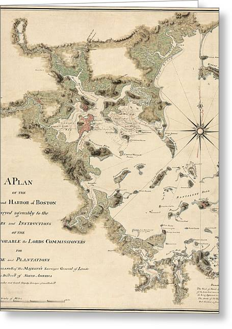 Thomas Drawings Greeting Cards - Antique Map of Boston Harbor by Thomas Wheeler - circa 1775 Greeting Card by Blue Monocle