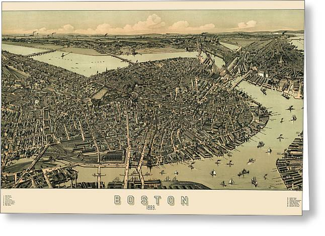 Boston Drawings Greeting Cards - Antique Map of Boston Massachusetts by A.E. Downs - circa 1899 Greeting Card by Blue Monocle