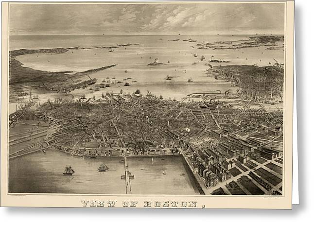 Boston Drawings Greeting Cards - Antique Map of Boston Massachusetts by F. Fuchs - 1870 Greeting Card by Blue Monocle