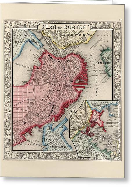 Augustus Greeting Cards - Antique Map of Boston Massachusetts by Samuel Augustus Mitchell - 1863 Greeting Card by Blue Monocle
