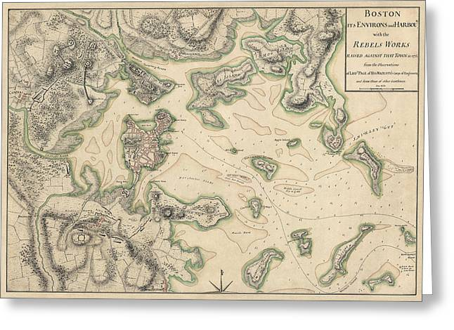Revolutionary War Drawings Greeting Cards - Antique Map of Boston Massachusetts by Thomas Hyde Page - circa 1775 Greeting Card by Blue Monocle