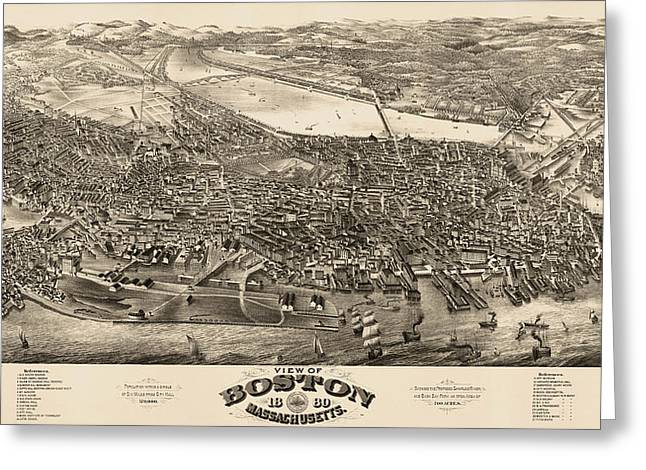 Boston Drawings Greeting Cards - Antique Map of Boston Masschusetts by H.H. Rowley and Co. - 1880 Greeting Card by Blue Monocle