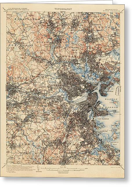 Boston Drawings Greeting Cards - Antique Map of Boston - USGS Topographic Map - 1903 Greeting Card by Blue Monocle