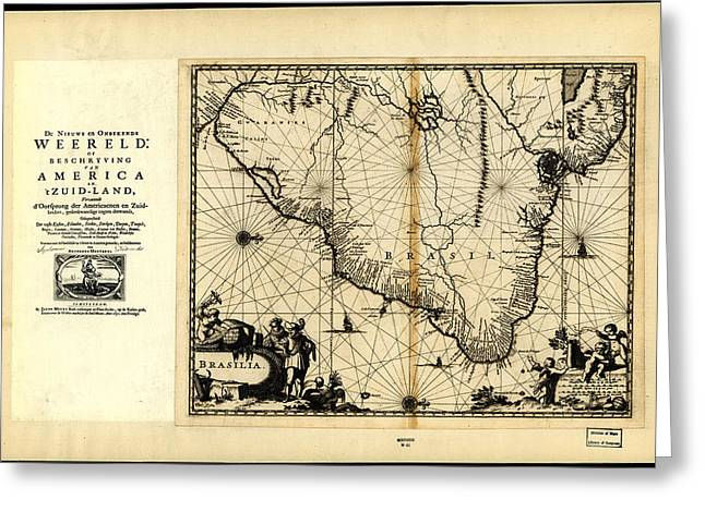 North Sea Drawings Greeting Cards - Antique Map of Brazil 1671 Greeting Card by Celestial Images