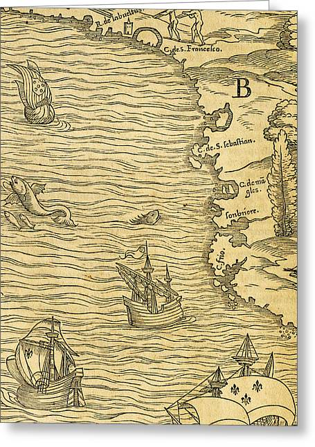 Sailboats Drawings Greeting Cards - Antique Map of Brazilian coast Greeting Card by Giovanni Battista Ramusio