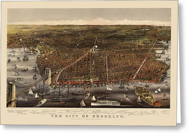 New York City Drawings Greeting Cards - Antique Map of Brooklyn by Currier and Ives - circa 1879 Greeting Card by Blue Monocle