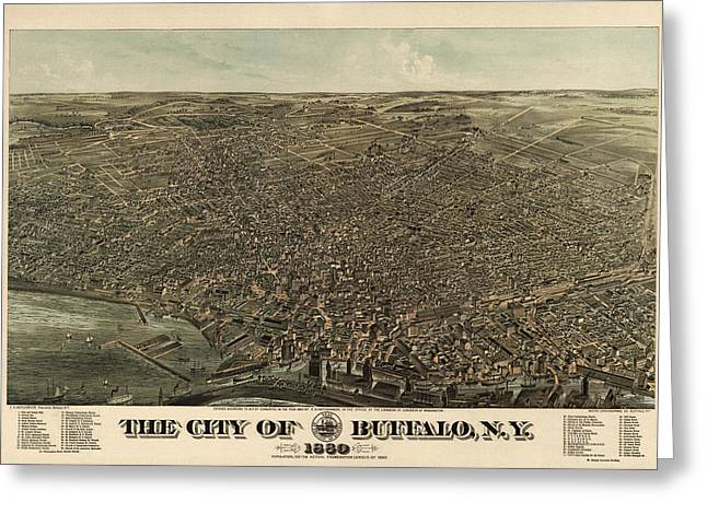 Buffalo Drawings Greeting Cards - Antique Map of Buffalo New York by Edward Howard Hutchinson - 1880 Greeting Card by Blue Monocle