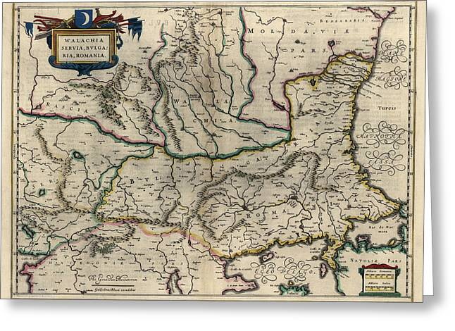 Romania Greeting Cards - Antique Map of Bulgaria Romania and Serbia by Willem Janszoon Blaeu - 1647 Greeting Card by Blue Monocle