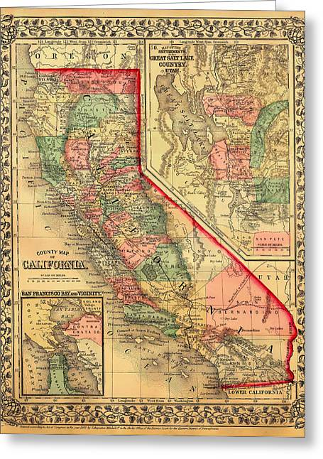 Old Country Roads Drawings Greeting Cards - Antique Map of California 1867 Greeting Card by Mountain Dreams