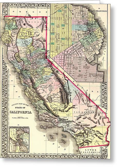 Antique Map Of California And San Francisco 1772 Greeting Card by Mountain Dreams