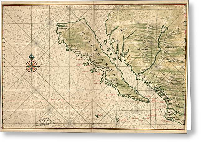 Baja California Greeting Cards - Antique Map of California as an Island by Joan Vinckeboons - 1650 Greeting Card by Blue Monocle