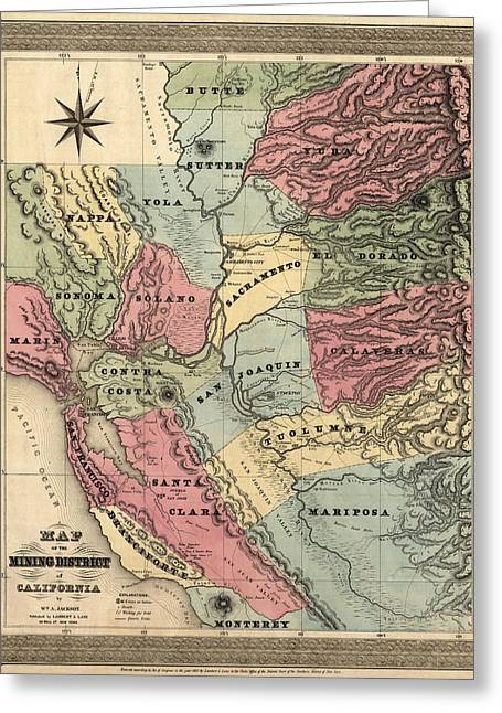 California Art Greeting Cards - Antique Map of California by William A. Jackson - 1851 Greeting Card by Blue Monocle