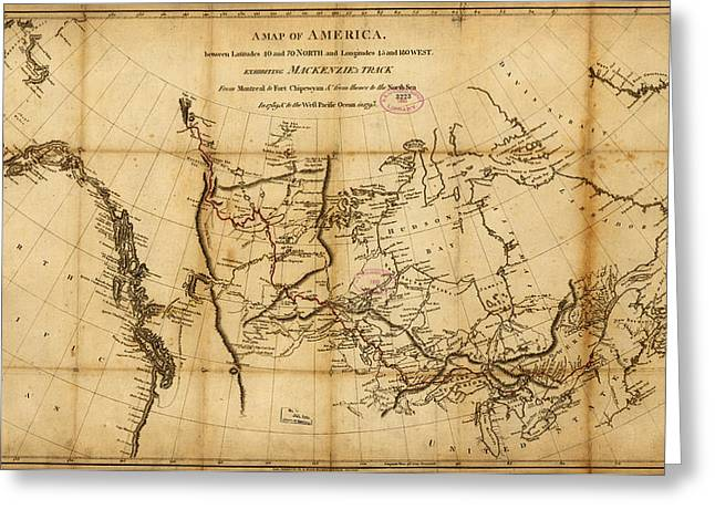Map Of Canada Greeting Cards - Antique Map of  Canada 1801 Greeting Card by Celestial Images