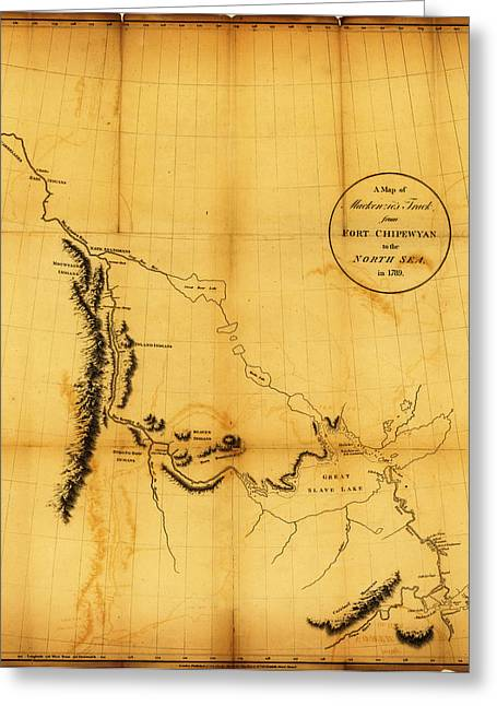 Map Of Canada Greeting Cards - Antique Map of  Canada Western 1801 2 Greeting Card by Celestial Images