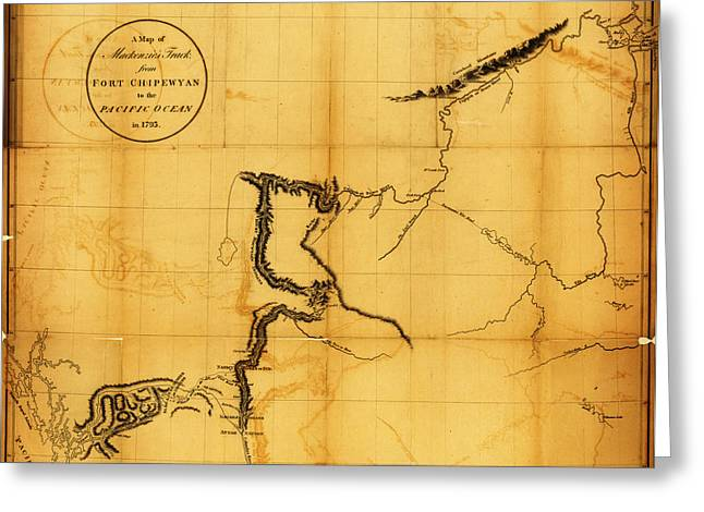 Map Of Canada Greeting Cards - Antique Map of  Canada  Western 1801 Greeting Card by Celestial Images