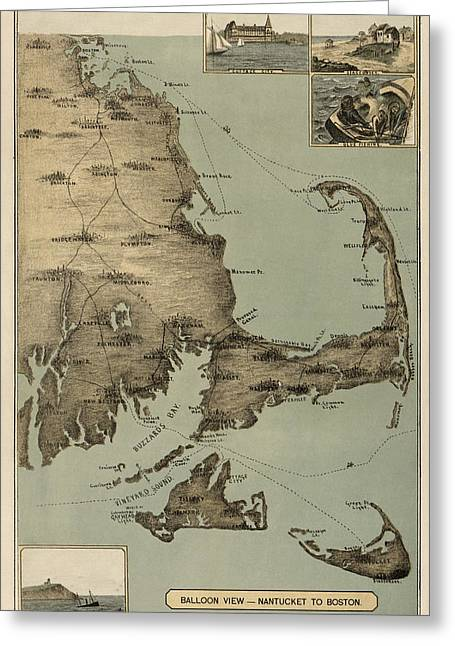 Cape Greeting Cards - Antique Map of Cape Cod Massachusetts by J. H. Wheeler - 1885 Greeting Card by Blue Monocle