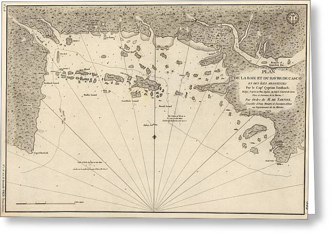 Bay Drawings Greeting Cards - Antique Map of Casco Bay and Portland Maine by Cyprian Southack - 1779 Greeting Card by Blue Monocle