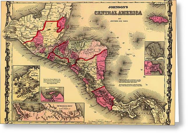Illustrative Greeting Cards - Antique Map of Central America 1862 Greeting Card by Mountain Dreams