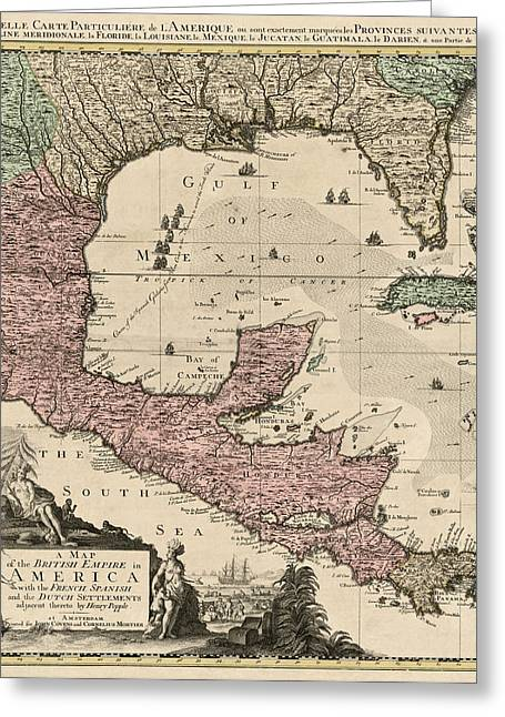 Nicaragua Greeting Cards - Antique Map of Central America by Henry Popple - circa 1733 Greeting Card by Blue Monocle