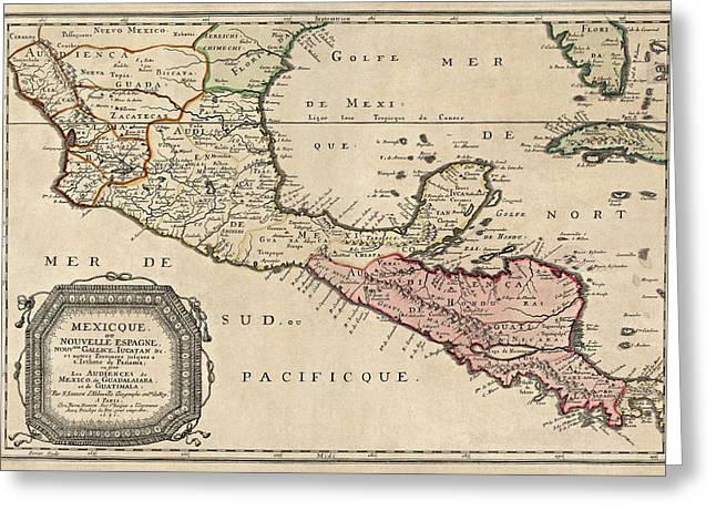 Nicaragua Greeting Cards - Antique Map of Central America by Nicolas Sanson - 1656 Greeting Card by Blue Monocle