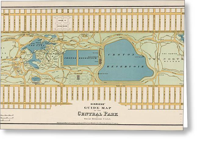 New York City Drawings Greeting Cards - Antique Map of Central Park New York City by Oscar Hinrichs - 1875 Greeting Card by Blue Monocle