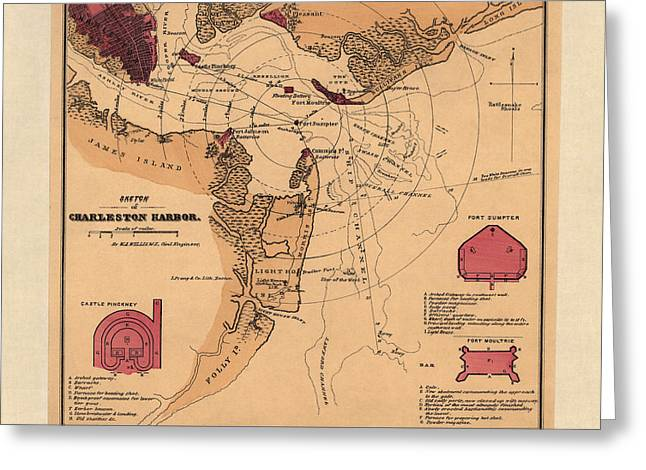 Charleston Greeting Cards - Antique Map of Charleston Harbor South Carolina by W. A. Williams - circa 1861 Greeting Card by Blue Monocle