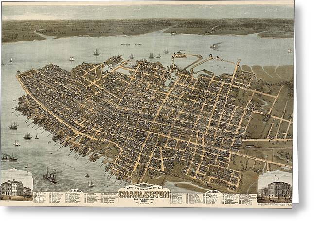 Charleston Greeting Cards - Antique Map of Charleston South Carolina by C. N. Drie - 1872 Greeting Card by Blue Monocle