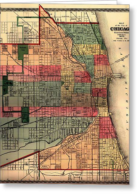 Chicago Drawings Greeting Cards - Antique Map of Chicago 1875 Greeting Card by Mountain Dreams