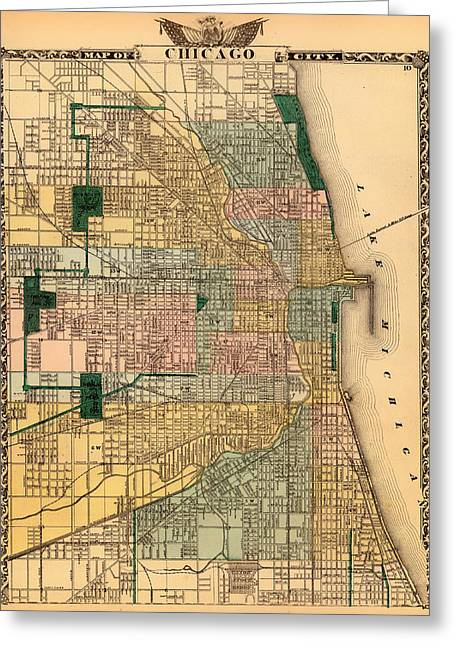 Universities Drawings Greeting Cards - Antique Map of Chicago 1876 Greeting Card by Mountain Dreams