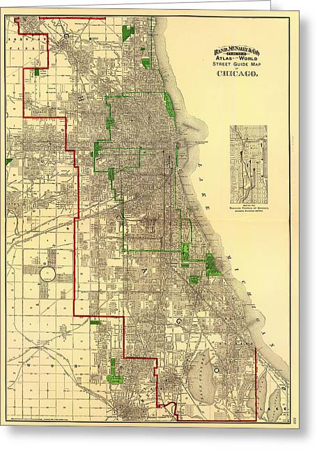 Universities Drawings Greeting Cards - Antique Map of Chicago 1897 Greeting Card by Mountain Dreams