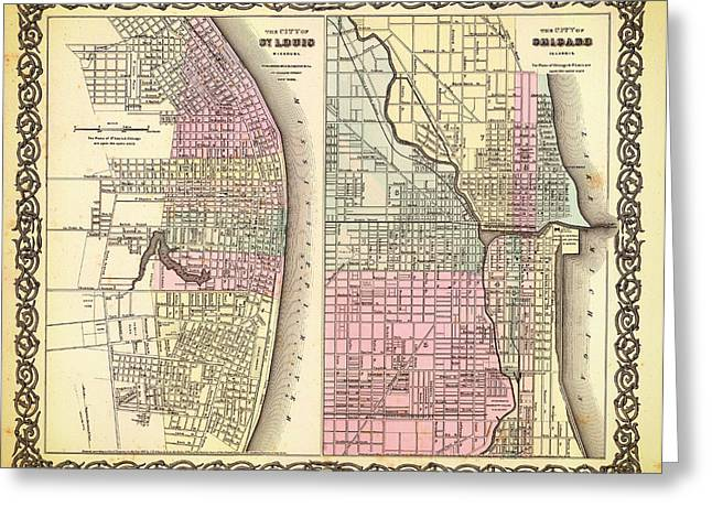 Universities Drawings Greeting Cards - Antique Map of Chicago and St Louis 1855 Greeting Card by Mountain Dreams