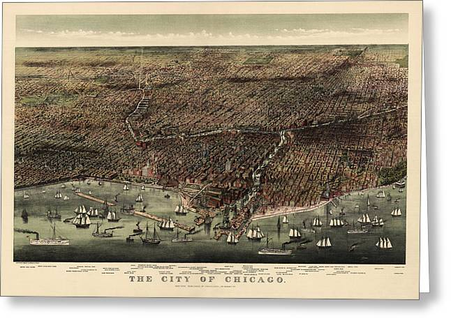 View Drawings Greeting Cards - Antique Map of Chicago by Currier and Ives - 1892 Greeting Card by Blue Monocle
