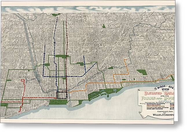 Antique Map Of Chicago By Willis J. Champion - 1908 Greeting Card by Blue Monocle
