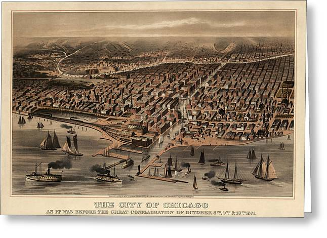 Universities Drawings Greeting Cards - Antique Map of Chicago Illinois as it Appeared in 1871 Before the Fire Greeting Card by Blue Monocle