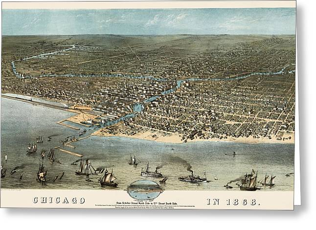 View Drawings Greeting Cards - Antique Map of Chicago Illinois by A. Ruger - 1868 Greeting Card by Blue Monocle