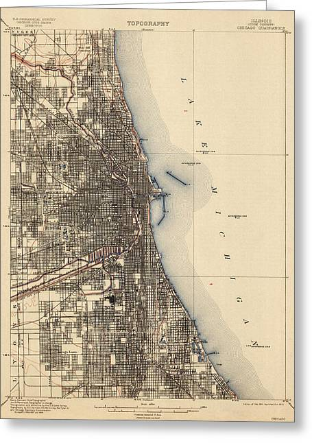 Geological Greeting Cards - Antique Map of Chicago - USGS Topographic Map - 1901 Greeting Card by Blue Monocle