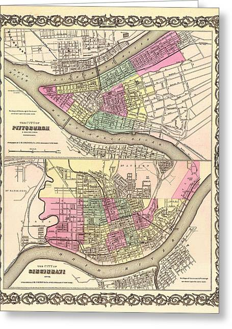 Pittsburgh Artwork. Greeting Cards - Antique Map of Cincinnati and Pittsburgh 1855 Greeting Card by Mountain Dreams